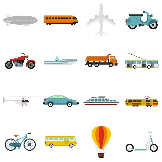 Conjunto de iconos de transporte Vector Premium