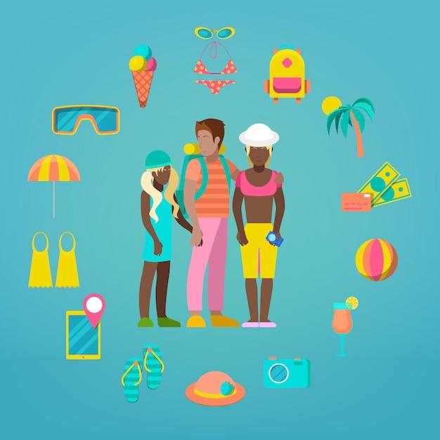 Conjunto de iconos de turismo de viajes familiares con accesorios de vacaciones turísticas y marinas. Vector Premium