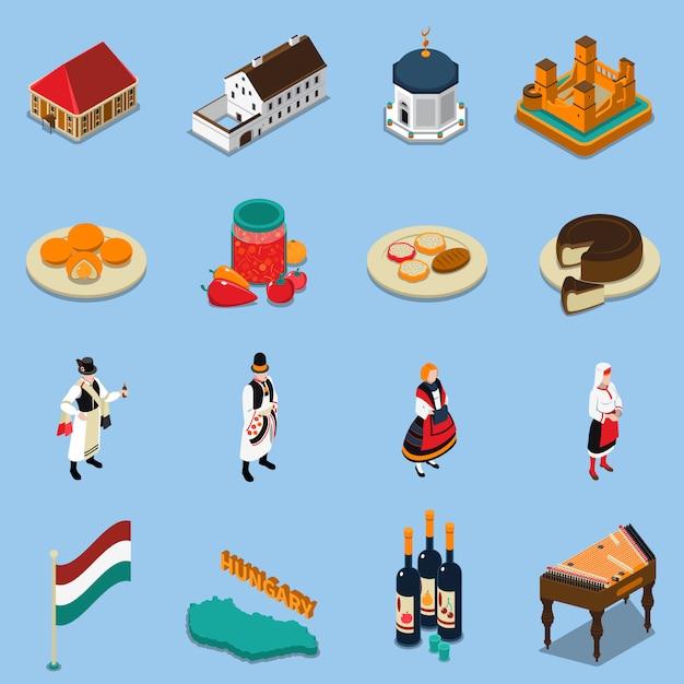 Conjunto de iconos turísticos isométrica de hungría vector gratuito