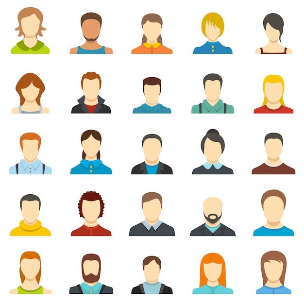 Conjunto de iconos de usuario de avatar aislado Vector Premium