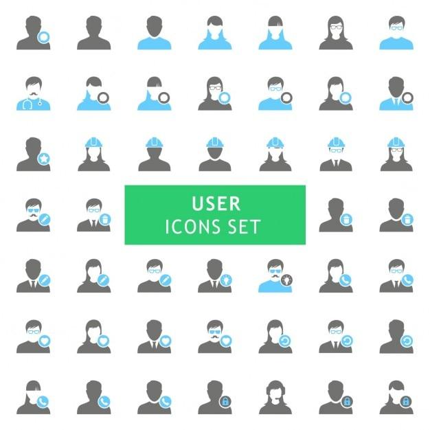 Conjunto de iconos de usuario vector gratuito