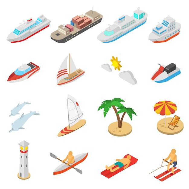 Conjunto de iconos de vacaciones de playa y barcos vector gratuito