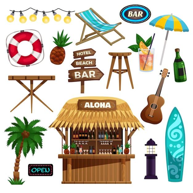 Conjunto de iconos de vacaciones de verano vector gratuito