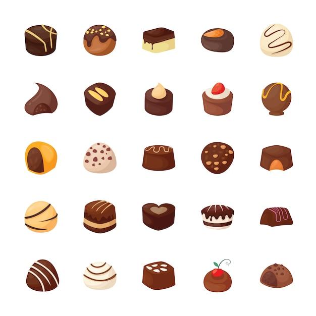 Conjunto de iconos de vector de chocolates surtidos Vector Premium