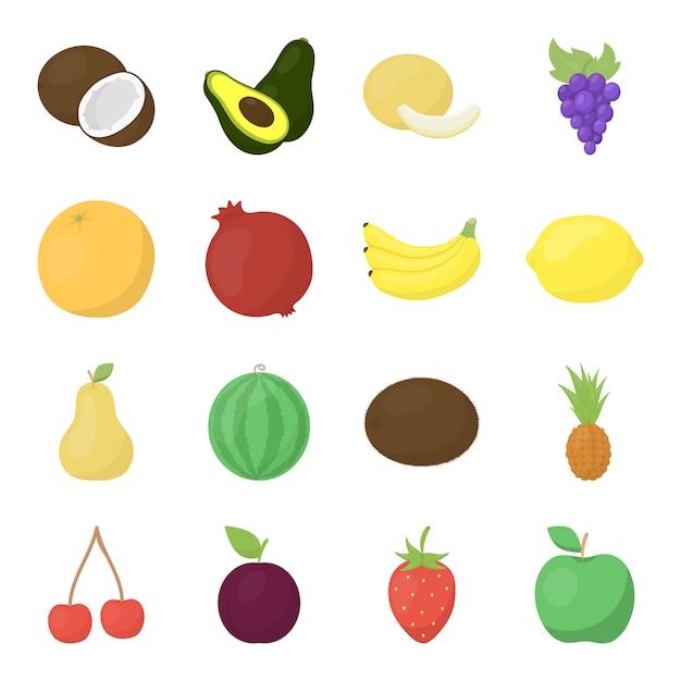 Conjunto de iconos de vector de dibujos animados de frutas. ilustración de vector de fruta de alimentos. Vector Premium