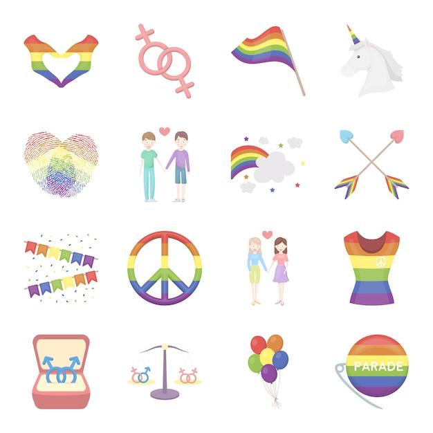 Conjunto de iconos de vector de dibujos animados gay. ilustración de vector de gay. Vector Premium