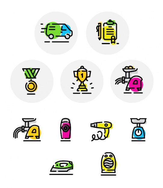 Conjunto de iconos de vector en diferentes temas. vaso. electrodomésticos para el hogar. Vector Premium