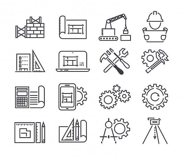 Conjunto de iconos de vector de ingeniería y fabricación Vector Premium