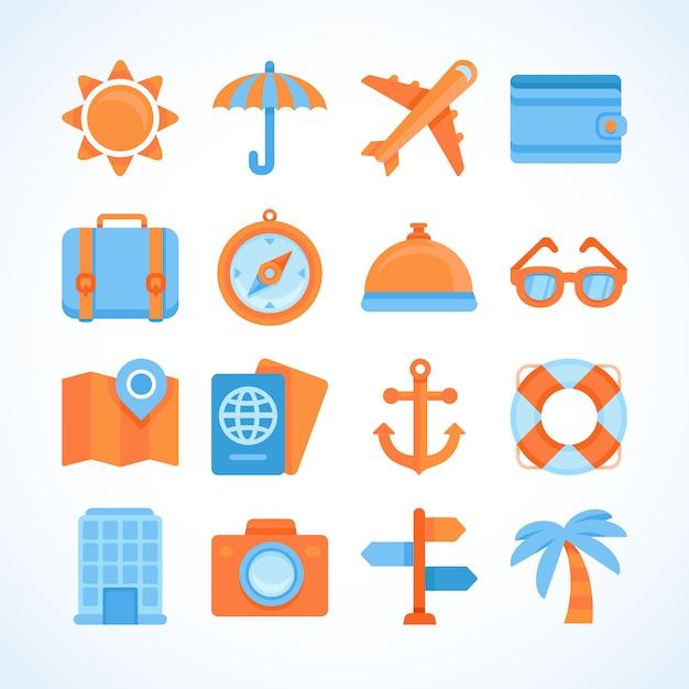 Conjunto de iconos de vector plano de símbolos de viaje Vector Premium