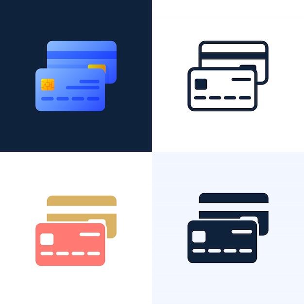 Conjunto de iconos de vector de tarjeta de crédito. Vector Premium