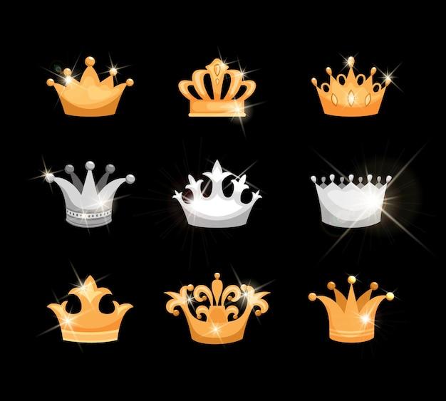 Conjunto de iconos vectoriales de coronas de oro y plata que muestran nueve diseños diferentes adecuados para la realeza o heráldica con elementos metálicos o gemas centelleantes vector gratuito