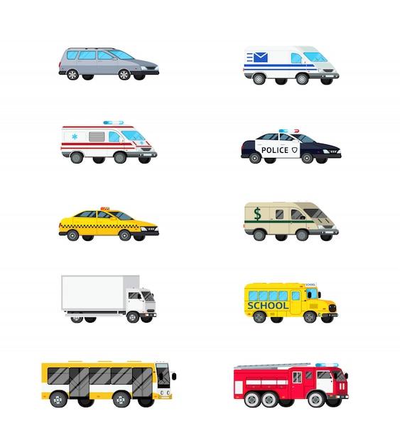 Conjunto de iconos de vehículos de motor vector gratuito