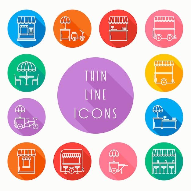 Conjunto de iconos de venta de comida callejera Vector Premium