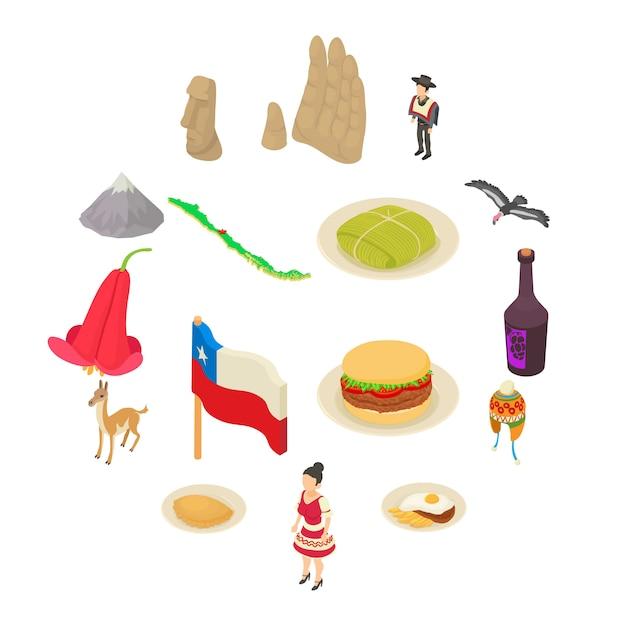 Conjunto de iconos de viaje chile, estilo isométrico. Vector Premium