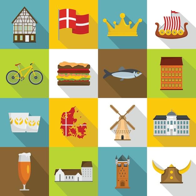Conjunto de iconos de viaje de dinamarca, estilo plano Vector Premium
