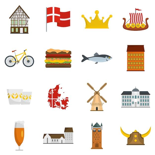 Conjunto de iconos de viaje dinamarca Vector Premium
