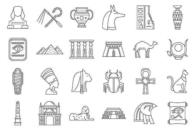 Conjunto de iconos de viaje egipto, estilo de contorno Vector Premium