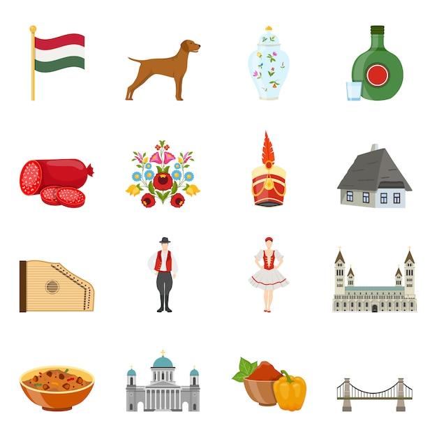 Conjunto de iconos de viaje de hungría vector gratuito