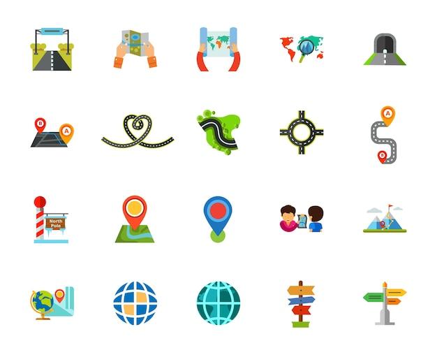 Conjunto de iconos de viaje vector gratuito