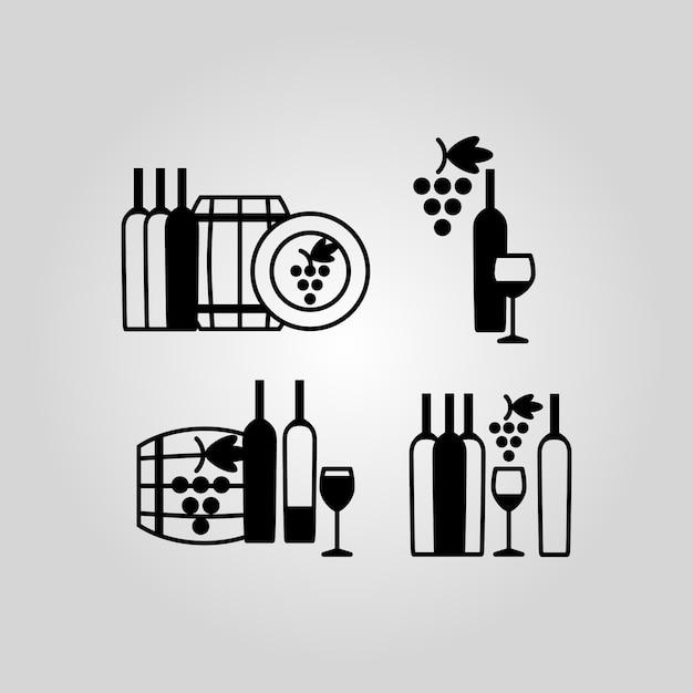 Conjunto de iconos de vino Vector Premium