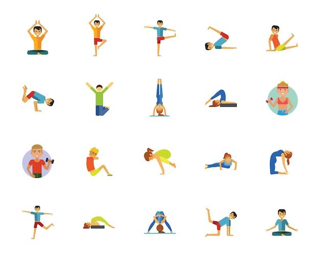 Conjunto de iconos de yoga, fitness y salud vector gratuito