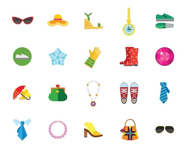 Conjunto de iconos de zapatos y accesorios vector gratuito