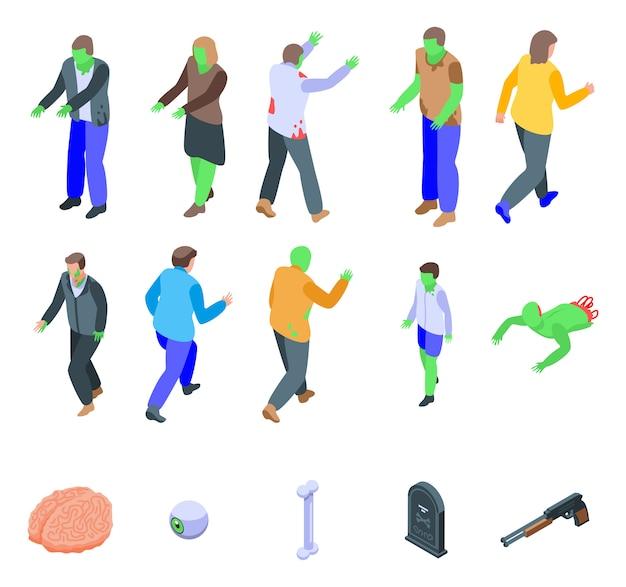 Conjunto de iconos zombie, estilo isométrico Vector Premium