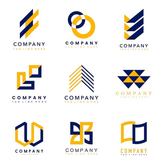 Conjunto de ideas de diseño de logotipo de la empresa vector gratuito