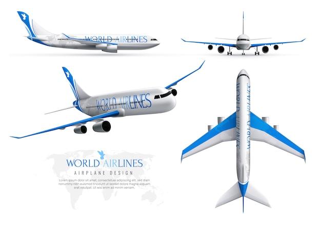 Conjunto de identidad realista de avión de aerolíneas mundiales en varias vistas aisladas vector gratuito