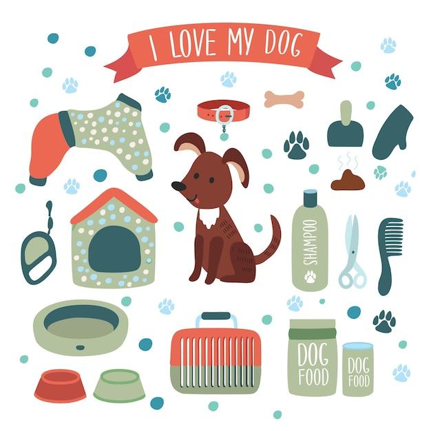 Conjunto de ilustración de accesorios para perro Vector Premium