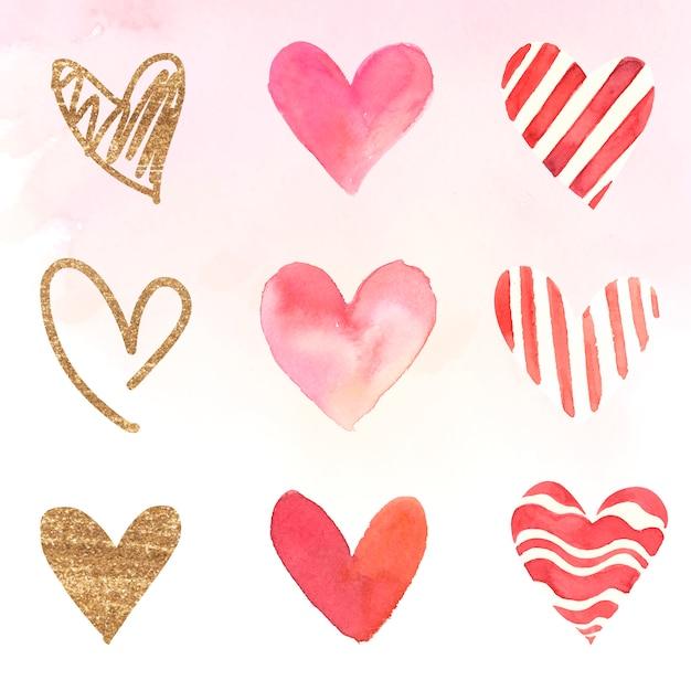 Conjunto de ilustración acuarela de iconos de corazón vector gratuito