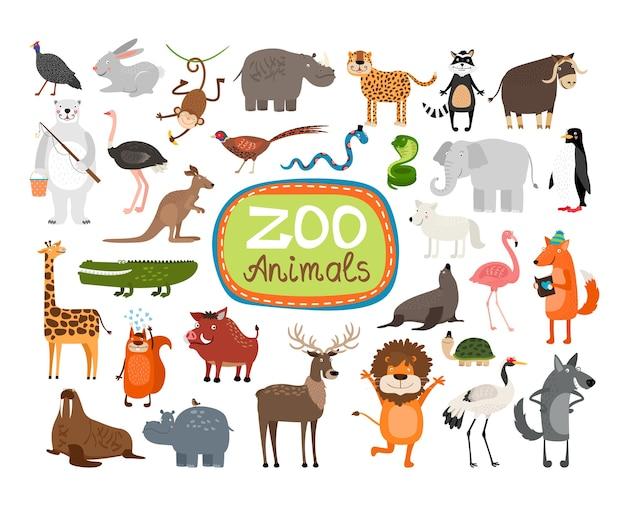 Conjunto de ilustración de animales de zoológico vector gratuito