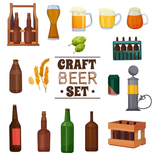 Conjunto de ilustración de cerveza artesanal vector gratuito