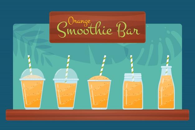 Conjunto de ilustración de cóctel de batido de frutas crudas de naranja Vector Premium