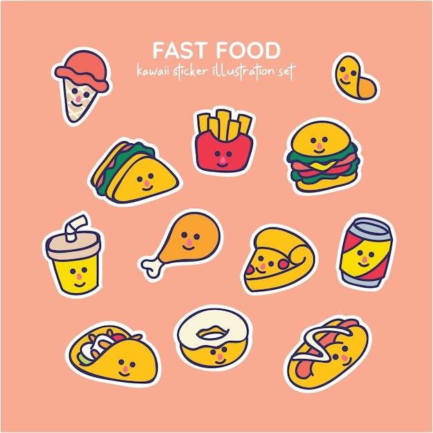 Conjunto de ilustración de comida rápida kawaii Vector Premium