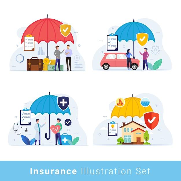 Conjunto de ilustración de concepto de diseño de seguro Vector Premium