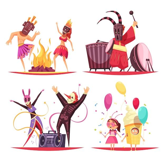 Conjunto de ilustración de concepto de disfraces de carnaval vector gratuito