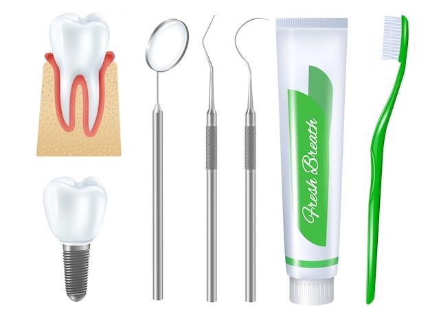 Conjunto de ilustración dental realista vector gratuito