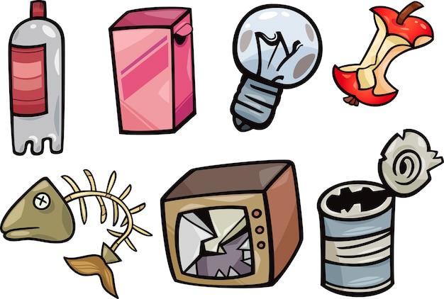 Conjunto De Ilustración De Dibujos Animados De Objetos De