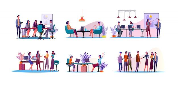 Conjunto de ilustración de discusión corporativa vector gratuito