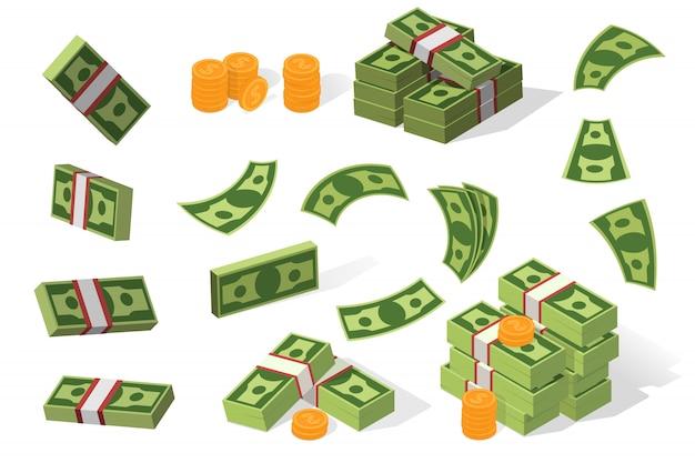 Conjunto de ilustración de dólares vector gratuito