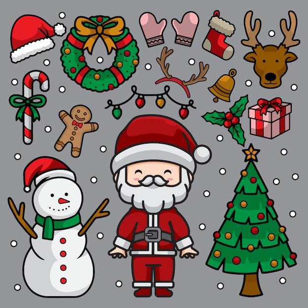 Conjunto de ilustración de doodle de navidad Vector Premium