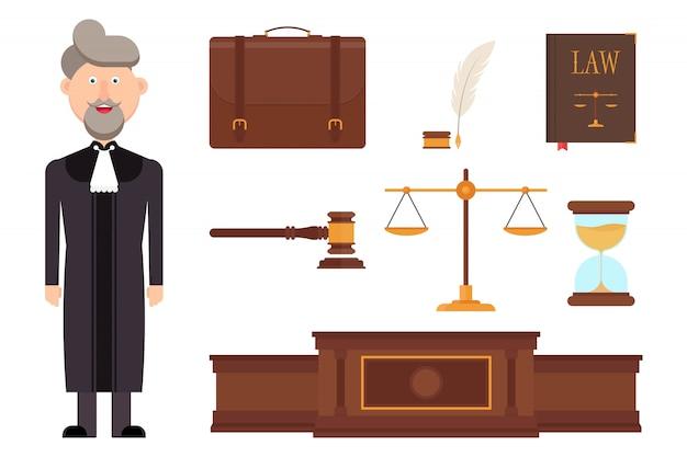 Conjunto de ilustración de elementos de carácter y ley de juez Vector Premium
