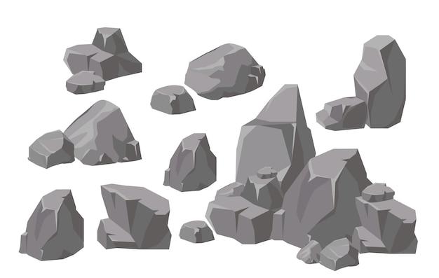 Conjunto de ilustración de elementos y composiciones de rocas y piedras en estilo de dibujos animados plana. piedra de dibujos animados para juegos y fondos. Vector Premium
