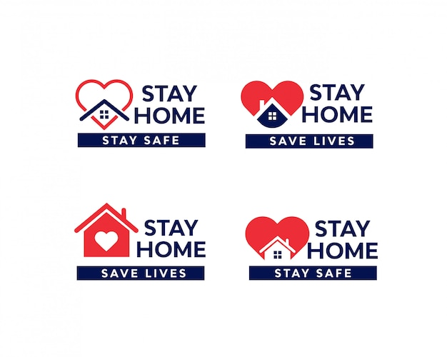 Conjunto de ilustración de epidemia de coronavirus de cuarentena de stay home Vector Premium