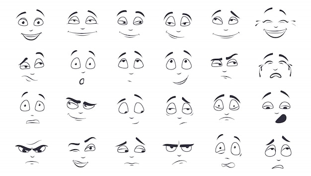 Conjunto de ilustración de expresión facial vector gratuito