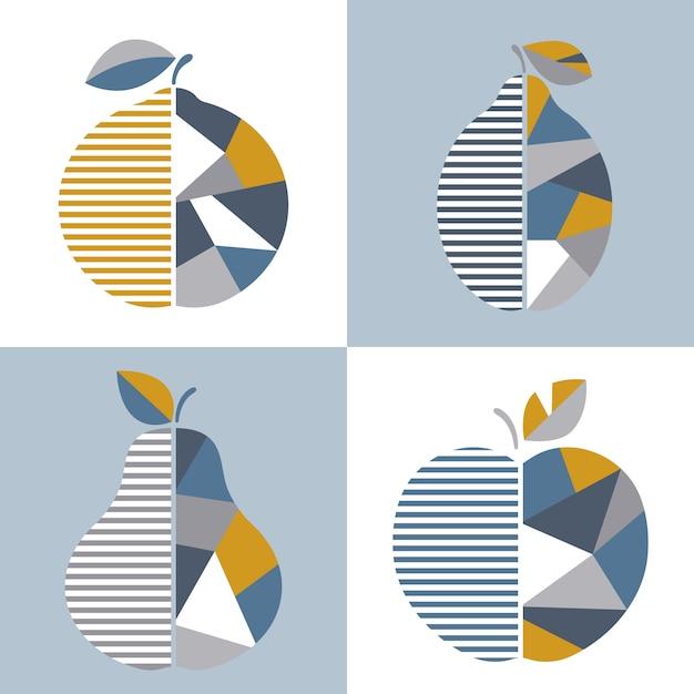 Conjunto de la ilustración geométrica moderna de la fruta. Vector Premium