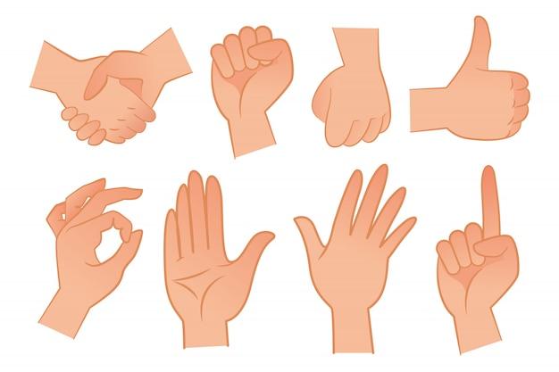 Conjunto de ilustración de gestos de mano vector gratuito