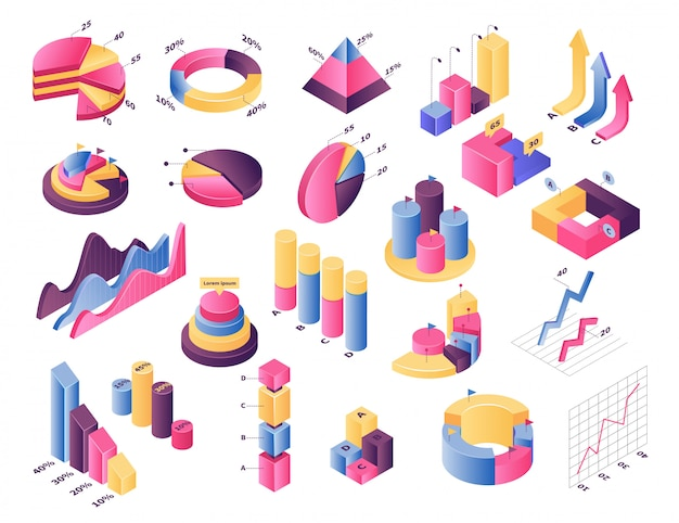 Conjunto de ilustración de gráfico de gráfico isométrico, elemento de infografía, barra de diagrama con porcentaje de estadísticas o gráfico circular en blanco Vector Premium