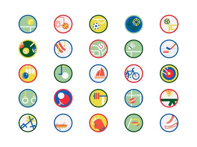 Conjunto de ilustración de iconos de deportes vector gratuito